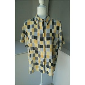 Alfred Dunner | Vtg Button Down Grey/Yellow 12P
